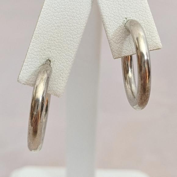 Vintage Jewelry - Vintage Sterling Silver Hoop Pierce Earrings
